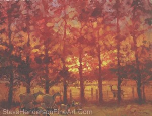 Fenceline Encounter inspirational original oil painting of goats and deer in meadow field at sunset by Steve Henderson