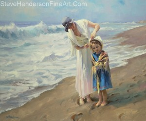 Beachside Diversions inspirational original oil painting of little girl at ocean with loving adult woman adjusting hat by Steve Henderson licensed home decor wall art at amazon.com, art.com, allposters.com, great big canvas and framed canvas art