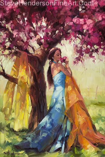Blossom inspirational original oil painting of young woman by fruit tree on spring day in meadow by Steve Henderson licensed wall art decor prints at framed canvas art, amazon, and vision art galleries