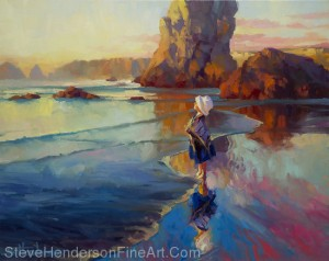 Bold Innocence inspirational original oil painting of little girl standing by ocean beach by Steve Henderson, sold, licensed wall art decor prints at amazon.com, art.com, allposters.com, framed canvas art, icanvas, and great big canvas
