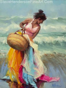 Brimming Over inspirational original oil painting of woman on beach with basket of fabric laughing by Steve Henderson licensed home decor wall art at amazon.com, art.com, allposters.com, Great Big Canvas, and Framed Canvas Art