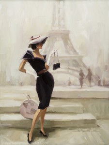 Love from Paris inspirational original oil painting of vogue fashion model woman with suitcase near Eiffel Tower in France by Steve Henderson licensed wall art home decor prints available