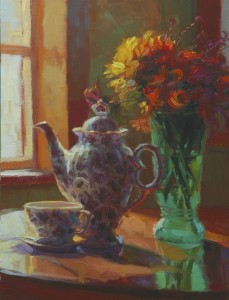 Morning Tea, inspirational original oil painting of ceramic tea pot on dining room table by Steve Henderson