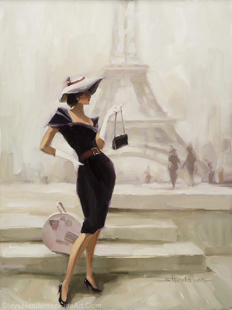 Love, from Paris, inspirational original oil painting of vogue woman in paris france with eiffel tower by Steve Henderson