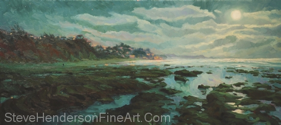Low Tide at Moonlight inspirational original oil painting of ocean beach at night by Steve Henderson