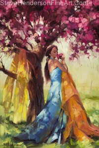 Blossom inspirational original oil painting of young woman by flowering tree in springtime by Steve Henderson licensed wall art home decor at Framed Canvas Art and Amazon.com