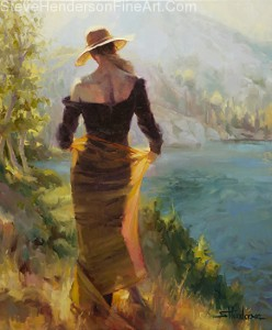 Lady of the Lake inspirational original oil painting of woman in golden scarf and skirt at alpine lake by Steve Henderson licensed wall art home decor at Framed Canvas Art, iCanvas, Amazon.com, Art.com, AllPosters.com, and Great Big Canvas