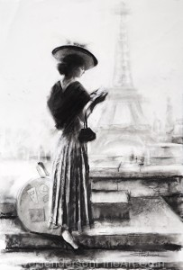 The Traveler inspirational original charcoal drawing of young woman with had and guide book outside of Eiffel Tower in Paris France by Steve Henderson