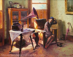 Ending the Day on a Good Note inspirational original oil painting of 1940s nostalgia woman taking off hat next to Victrola by Steve Henderson