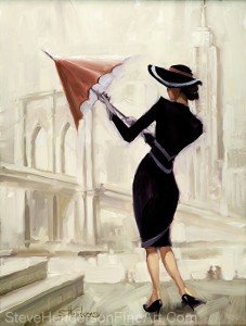 Hello New York inspirational original oil painting of vogue nostalgia girl with umbrella by Steve Henderson