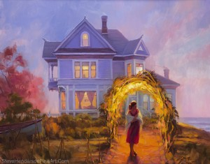 Lady in Waiting inspirational original oil painting of woman by coastal Victorian house by Steve Henderson; licensed wall art home decor at Amazon.com, iCanvas, and Framed Canvas Art