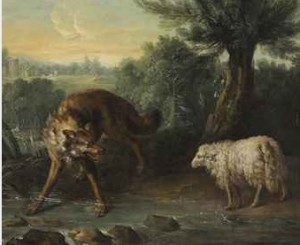 At some point, when things are set aright, the wolf or the lion or the tiger will lie down peacefully with the lamb, but that time is not now. The Wolf and the Lamb by Jean-Baptiste Oudry, old masters painter, 1686-1785.