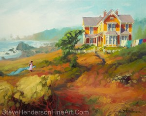 Wild Child inspirational original oil painting of little girl by Victorian coastal house by the see by Steve Henderson licensed wall art home decor at Great Big Canvas, icanvas, Framed Canvas Art. AllPosters.com, Amazon.com, and Art.com