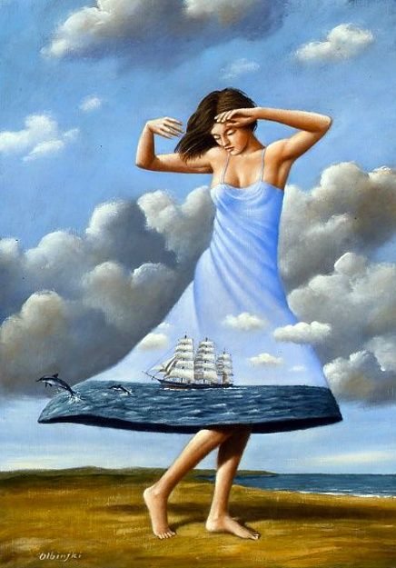 Dancing to the End of Love - Rafal Olbinski 2010 Acrylic and Oil on Canvas