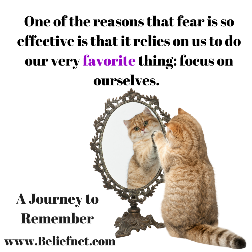 One of the reasons that fear is so effective is that it relies on us to do our very favorite thing: focus on ourselves.