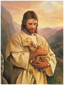 Jesus cradling a lamb