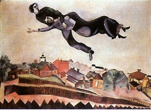 Marc Chagall flies with Bella over Vitebsk