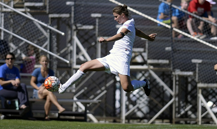 Kristina O'Sullivan, a junior, goes airborne to keep the ball in play as the Falcons met CSU Bakersfield at the U.S.Air Force Academy's Cadet Soccer Stadium in Colorado Springs, Colo. Sept 20, 2015.  The Falcons dropped this non-conference match 2-1. Air Force returns to action Friday, Sept. 25 beginning Mountain West play at UNLV. (Air Force photo/Mike Kaplan) (released)