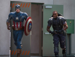"Chris Evans, left, as Steve Rogers (Captain America) and Anthony Mackie as Sam Wilson (Falcon) in ""Captain America: The Winter Soldier."" (Zade Rosenthal / Marvel)"